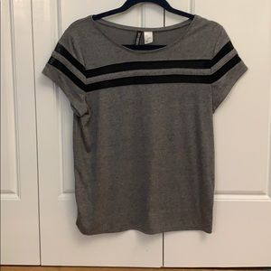 H&M grey with black sheer stripes tee